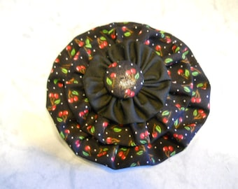 Fabric Flower Pin, Fabric Brooch, Flower Hair Clip, Black Cherry Printed Fabric, Curtain Decor, Purse Decoration, Birthday Gift, Mothers Day