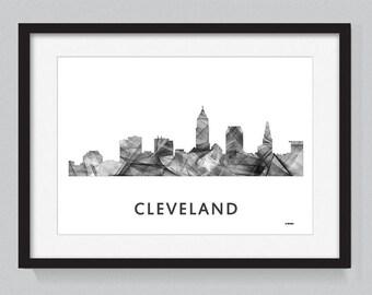 Cleveland, Ohio skyline WB BW