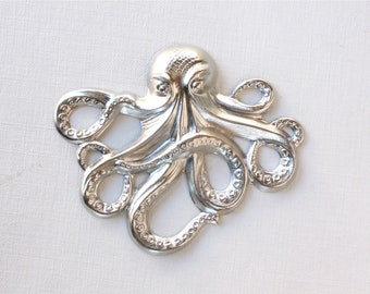 1 Large silver OCTOPUS jewelry pendant embellishment 65mm x 53mm (ST7)