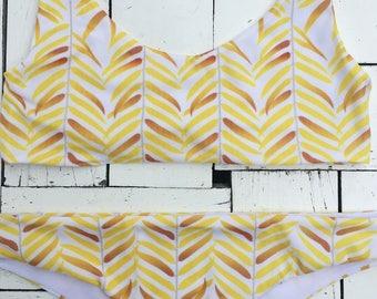 Yellow leaves bikini top