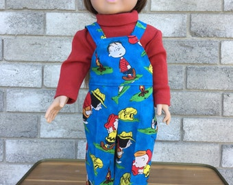 Overalls and either blouse or knit shirt in bright fabric so popular with little girls. Fully washable and made to last foerever.
