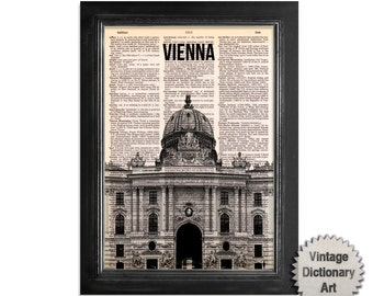 Vienna Hofburg Palace Austria Skyline - Cityscape printed on Recycled Vintage Dictionary Paper - 8x10.5 Dictionary Art Print