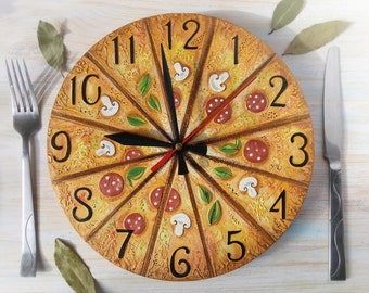 Pizza, Italy dreams, Modern wall clock with numbers, White wall clock, wood clock, white home decor, kids gift.