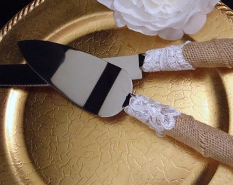 Vintage Lace and Rustic Charm Wedding Cake Server and Knife Set - Engraving Optional - Wedding Cake Knife Set - Engraved Cake Server