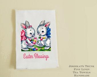 Easter Bunny Tea Towel Linen Hostess Gift Retro Easter Blessings