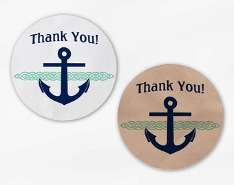 Anchor, Rope Nautical Wedding Favor Stickers - Custom Thank You White Or Kraft Round Labels for Bag Seals, Envelopes - Mint & Navy (2003)