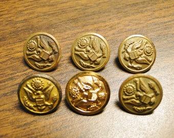 "5 Vintage Waterbury Scovill Mfg Co US Military Cuff Buttons & 1 City Button US Military Cuff Button - 5/8"" Diameter - Nice Older Group1"