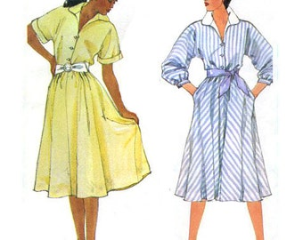 Simplicity 6332 sewing pattern // button front pullover dress with full skirt
