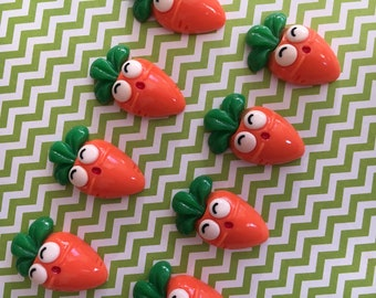 8pc Kawaii Carrot 3D resin Vegetable