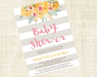Floral Baby Girl Shower Invitation