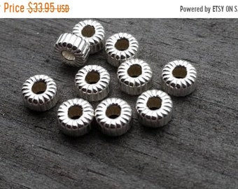 SAVE 20% 100 Pieces Sterling Silver Corrugated Euro Flat Rondelle Beads 5x2.5x1.5mm Hole MADE In USA