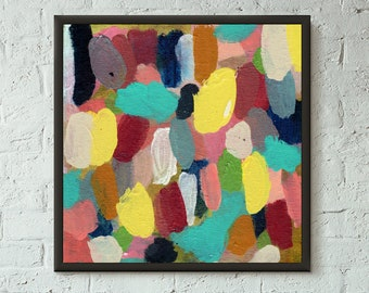 Simply Pretend 1 of 6 // Modern Abstract Art Original Bold x8 Mixed Media Acrylic Painting on Canvas Panel, Free US Shipping, Lisa Barbero
