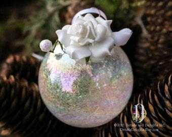 Velvet Rose Flocked Winter White Glass Round Ornament, Bridal Wedding Tinsel Glitter, Crystal Bead Gem Christmas Holiday Tree Decor