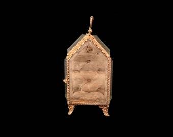 Antique French Large Glass Casket, Gold Ormolu & Silk Marriage Vitrine, Jewellery Box, Romantic Jewellery Display, Love Token