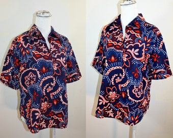 Vintage 1960s STYLECRAFT Red White and Blue Cotton Print Shirt Womens Medium