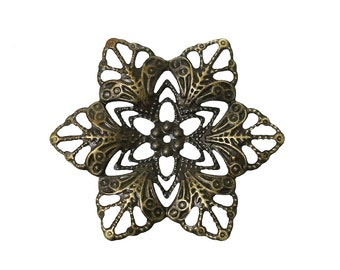 Filigree : 10 Antique Bronze Filigree Flower Wraps Connectors   Brass Filigree Metal Stampings ... Lead, Nickel & Cadmium Free F-46660