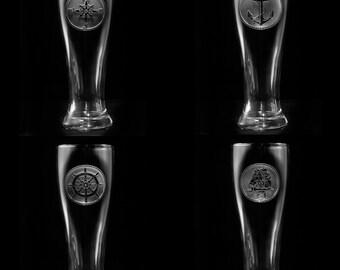 Nautical Pilsner Beer Glass Set, Sailboat, Anchor, Beach House Glasses, Coastal Decor