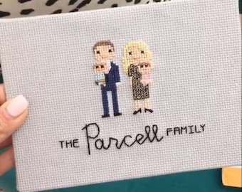 Stitch Family Baby Announcement - Cross Stitch Pregnancy Announcement - Cross Stitch Gender Reveal - Adoption Gift - Personalized Baby Gift