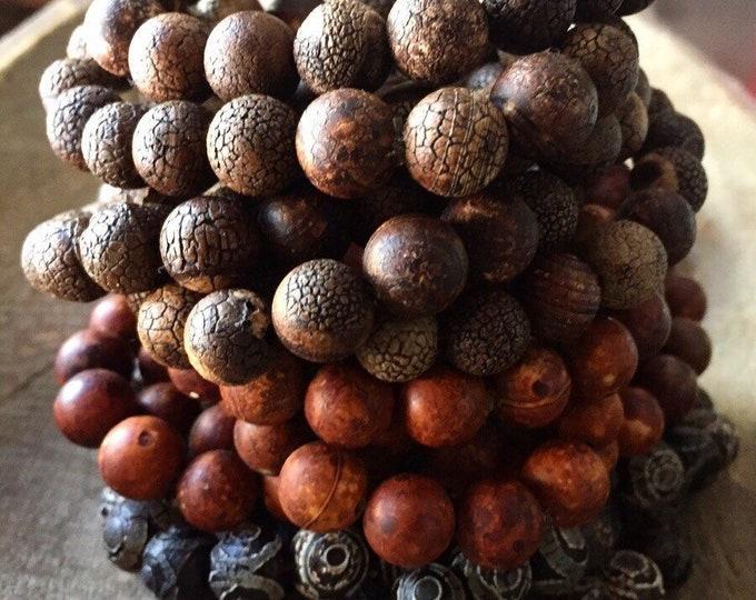 Matte Tibetan Agate | Dzi Agate | Chunky 10 mm | Spiritual Junkies | Yoga + Meditation | Stackable Mala Bracelet