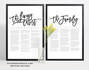 BOTH Rustic The Family Proclamation to the World AND The Living Christ Matching Print or Printable - LDS Wall Decor - Magnolia Style