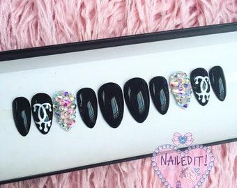 NAILED IT! Hand Painted False Nails - Black Dripping Logo Crystals