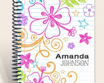 Personalized Notebook / Teen Journal / Sketchy Doodles Notebook