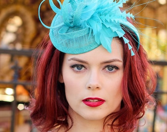 Turquoise Fascinator, Women's Tea Party Hat, Church Hat, Kentucky Derby Hat, Turquoise Hat, Tea Party Hat, wedding hat