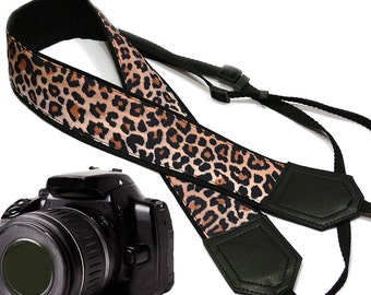 Camera strap with leopard print.  Cheetah DSLR / SLR Camera Strap. Personalized camera strap, Personalized gift, Camera accessories