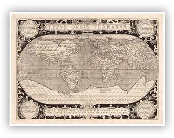 Antique Old World Map 1600s, Typvs Orbis Terrarvm, Ancient Known Earth, Vintage Style Fine Art Print, Retro Home Decor