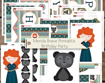 Brave Merida Birthday Party Printables INSTANT DOWNLOAD