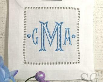 Chinoiserie MONOGRAM Cocktail Napkins. Wedding Gift. White Linen. BAROQUE Font. Housewarming Hostess Gift. Bar Cart Decor. Holiday Exchange.