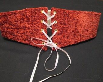 Reversible Waist Cincher Reversible Corset Red Velveteen Light Pink Silk Medieval Corset Belt Medium Underbust Corset Renaissance Corset