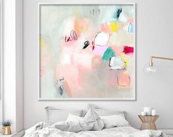 "ABSTRAKTER Malerei, Giclée-Druck, abstrakte Kunst, bis zu 40 x 40"", Acryl-Malerei, Extra große Wand-Kunst, abstrakte Kunst Print, rosa grau Pastelle"