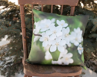 Flower Pillow Case, Spring Blossom Throw Cushion Cover, Green and White Living Room Accent, French Cottage Chic, White Botanical Art Decor