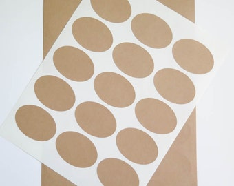 """Oval Kraft Labels - Brown Kraft Stickers 2.5"""" x 1.75"""" Ink Jet and Laser Printable, For Stamping"""