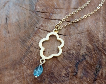 Gold Cloud Pendant with Apatite Bead