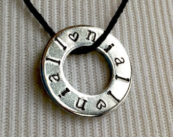Niall Necklace Hand Stamped Washer, Jewelry Pendant Custom Hand Stamped Name Necklace