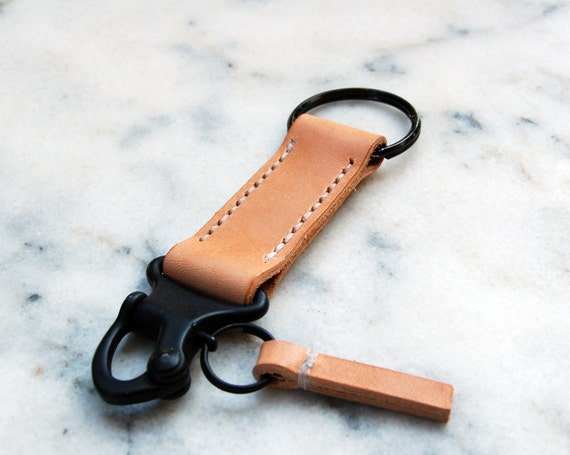 Handmade Military Style Snap Shackle Leather Keychain Keyring Keyfob