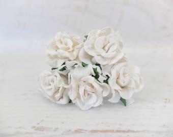 5 30mm white mulberry paper gardenia
