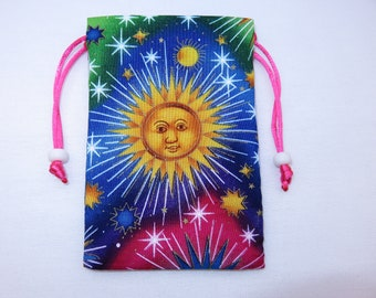 "Mini Suns Celestial Satin Lined Tarot Card Pouch, Tarot Card Bag, Handmade 3 1/2"" x 5"""