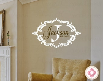 Family Name Wall Decal - Monogram Vinyl Decal with Initial Name and Established Year - Bedroom Entryway Decor 22H x 36W PD0037