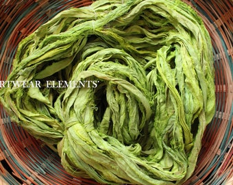 Pure Sari Silk, Lush Lime, 6 Yards, New Recycled Sari Silk, Fair Trade, Ribbon, Yarn, Silk, Sari silk, Fabric, ArtWear Elements, 223