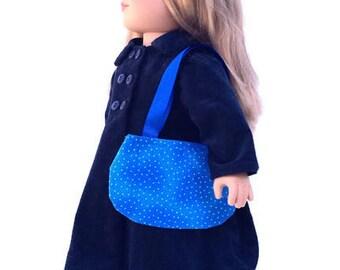 18 Inch Doll Purse, Blue Polka Dot Doll Purse, Blue Doll Purse