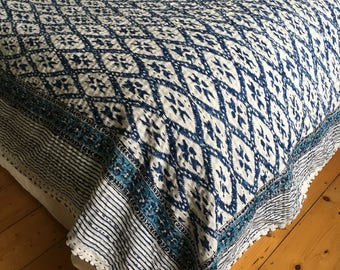 Indian Kantha Stitch Quilt Throw Picnic Blanket Single Cotton Bedspread Handmade