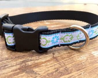 Small Dog Collar, white dog collar, floral dog collar, jacquard dog collar, dog collar for girl, female dog collar, pretty dog collar