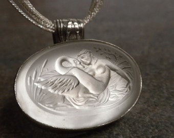 Greek Mythology Jewelry Cameo Necklace Leda and the Swan Silver Pendant