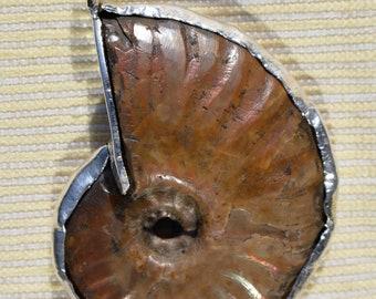 Unique silver pendant with ammonite