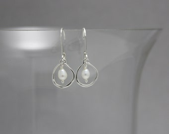 Organic White Fresh Water Pearl and Sterling SIlver Circle Earrings