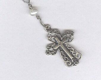 Girls Cross Necklace, Girls Sterling Silver Cross Necklace, Girls Sterling Confirmation Cross Necklace, Sterling Cross  Necklace for Girls,