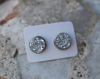 Silver Faux Druzy Earrings